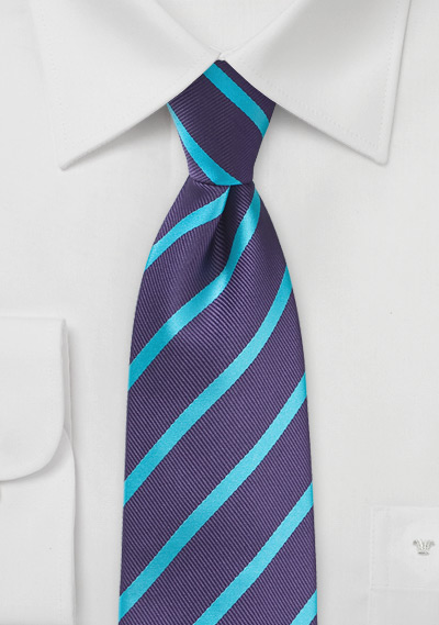Repp Stripe Tie in Purple and Teal