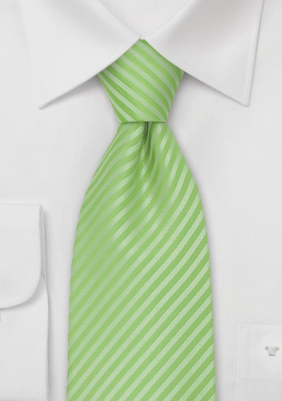 Lime Colored Striped Summer Tie