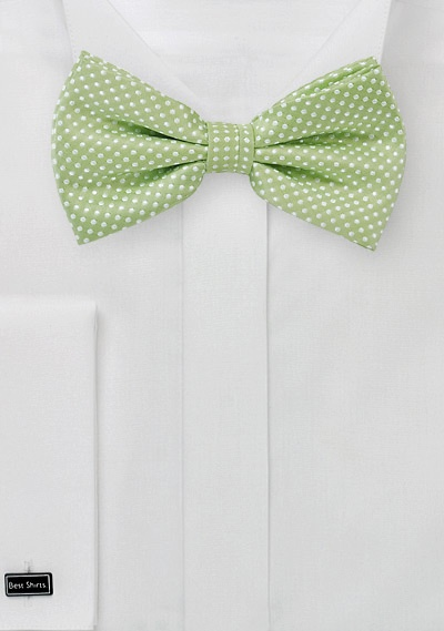 Light Sage Green Bow Tie With Tiny Pin Dots