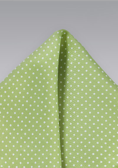 Soft Sage Color Pocket Square With Dots