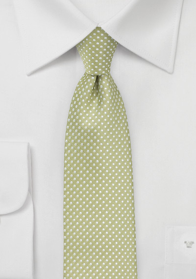 Trendy Narrow Tie in Sage Green with Silver Dots