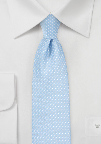 Trendy Narrow Tie in Baby Blue with Silver Dots