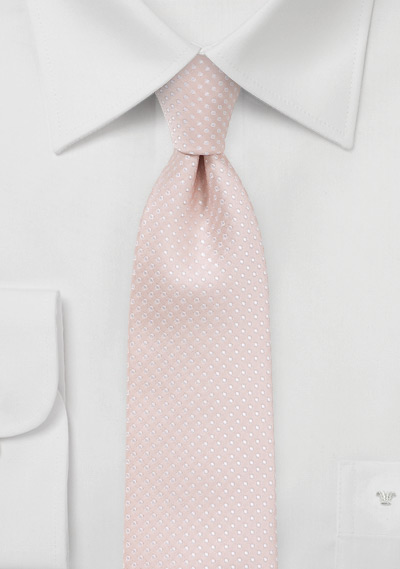 Narrow Pin Dot Tie in Blush Pink