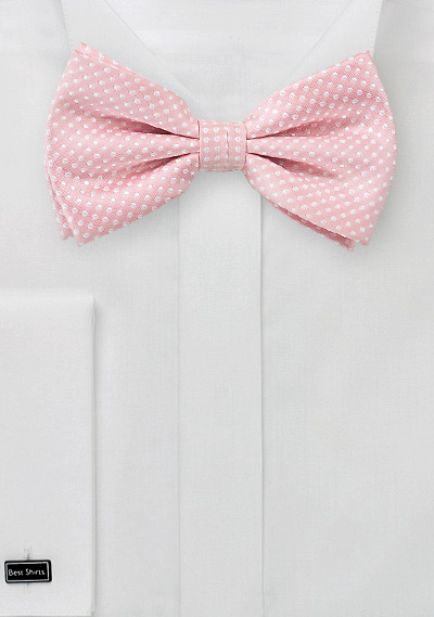 Soft Pink Men's Bow Tie with White Pin Dots | Bows-N-Ties.com