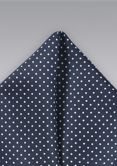 8384be1d36485 Midnight Blue Pocket Square with White Dots | Bows-N-Ties.com