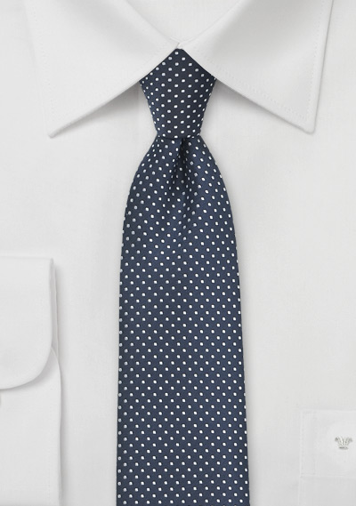 Narrow Pin Dot Tie in Midnight Blue
