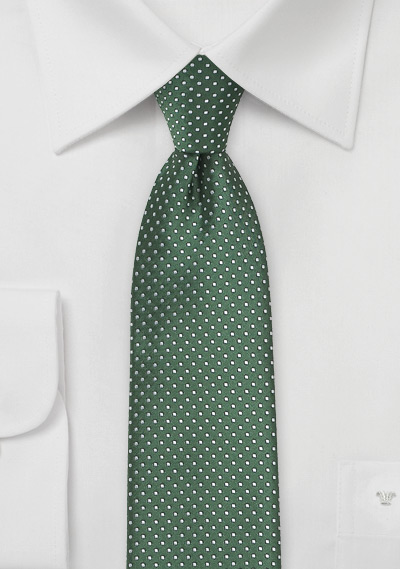 Narrow Pin Dot Tie in Hunter Green