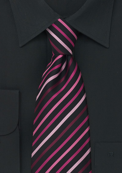 Striped Necktie in Black, Pink, Fuchsia, and Coral