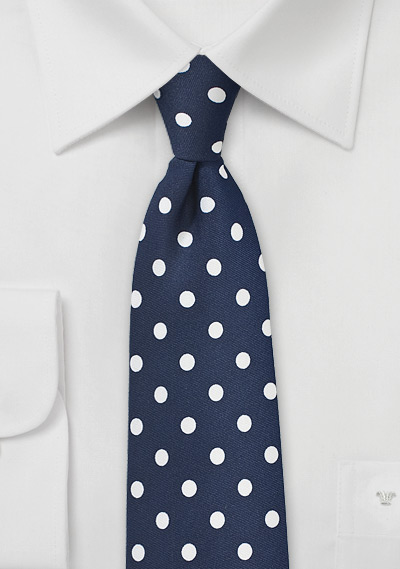 776d82119643 Navy and White Polka Dotted Necktie | Bows-N-Ties.com