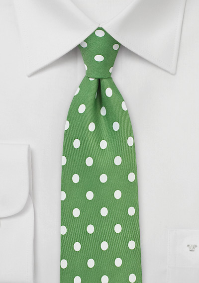 Polka Dot Tie in Grass Green and White