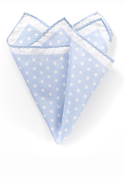 Polka Dotted Hanky in Baby Blue and White