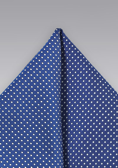 Royal Blue Hanky with Tiny Pin Dots
