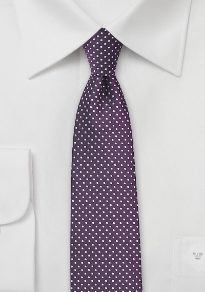 Narrow Pin Dot Tie in Eggplant