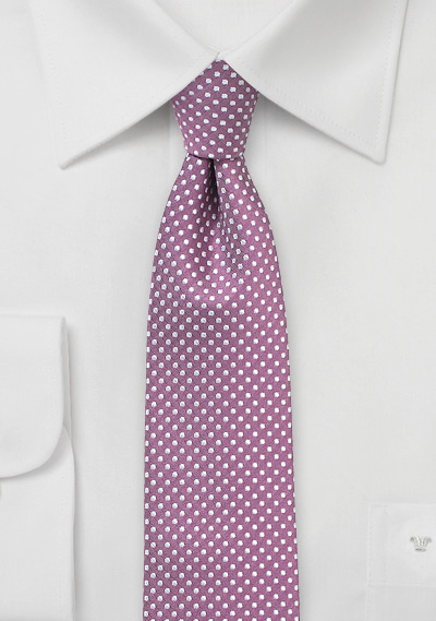 Skinny Pin Dot Tie in Raspberry