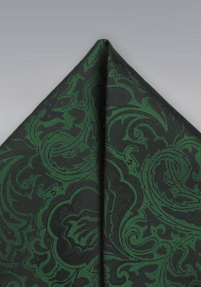 c891bc6737d7 Pine Forest Green Paisley Pocket Square | Bows-N-Ties.com