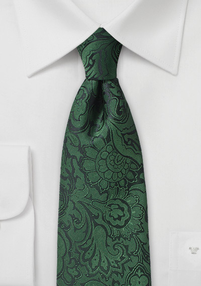 Pine Forest Green Paisley Tie
