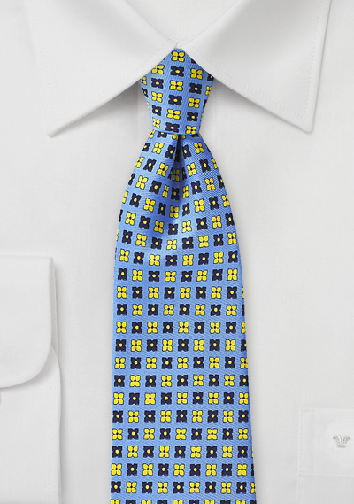 Floral Print Designer Tie in Blue and Yellow