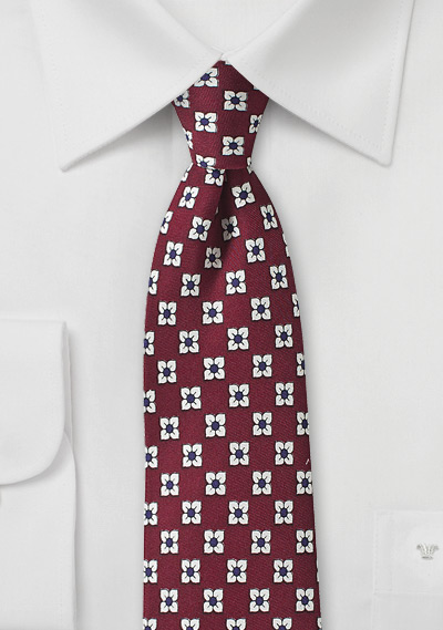Bordeaux Red Silk Tie with White and Navy Flowers