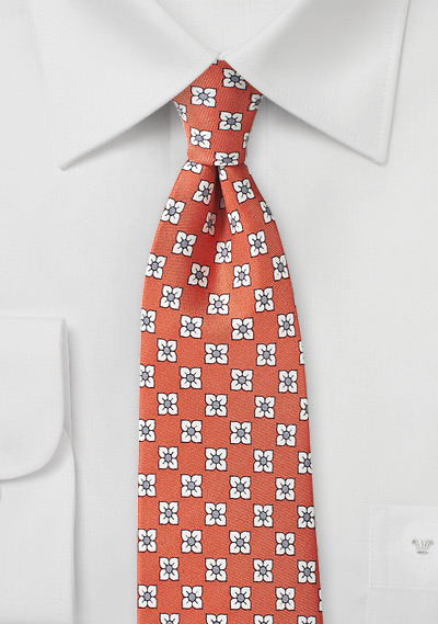 Coral Silk Tie with White Flowers