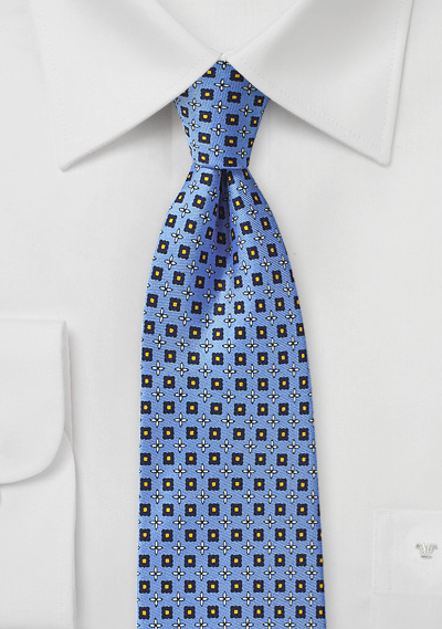 Azure Blue and Yellow Designer Silk Tie