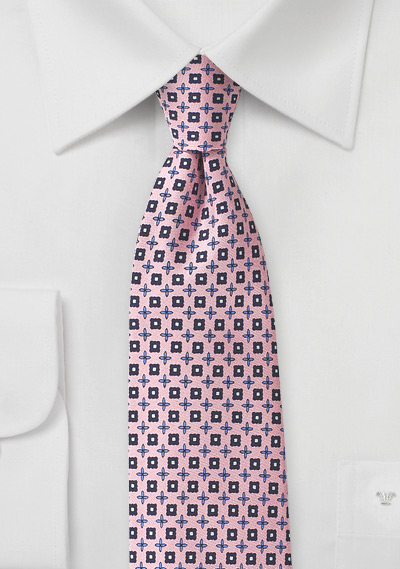 Intricately Patterned Foulard Silk Tie in Pink and Blue