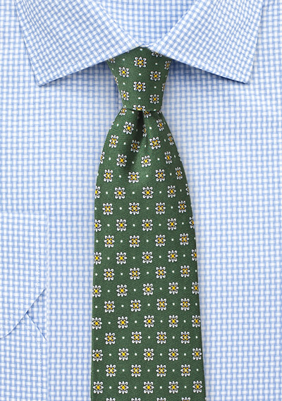 Geometric Floral Silk Tie in Ivy Green
