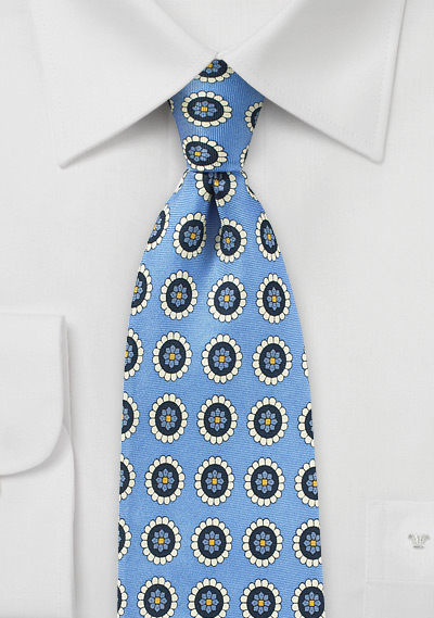 Medallion Print Silk Tie in Blue and Cream