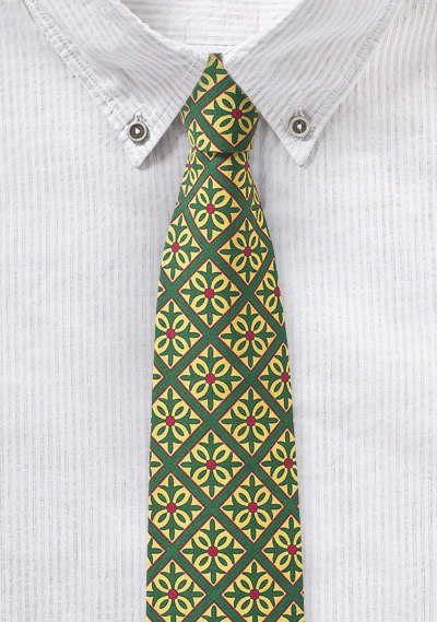 Mexico Tile Print Cotton Tie in Green and Yellow