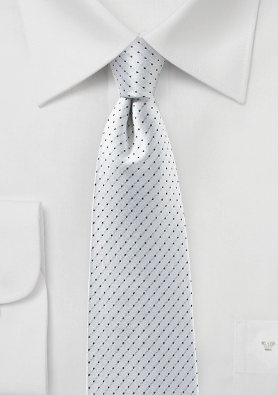 Bright Silver and Charcoal Pin Dot Tie