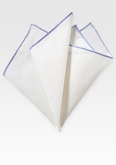 White Pocket Square in Fine Linen with Lavender Colored Border