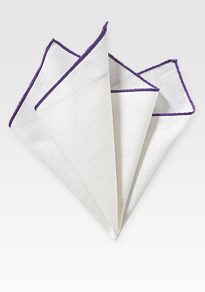 White Linen Pocket Square with Purple Border