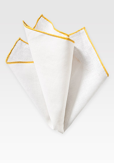 Summer Linen Hanky in White and Yellow