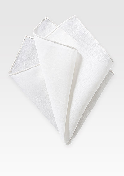 Classic Linen Pocket Square in White