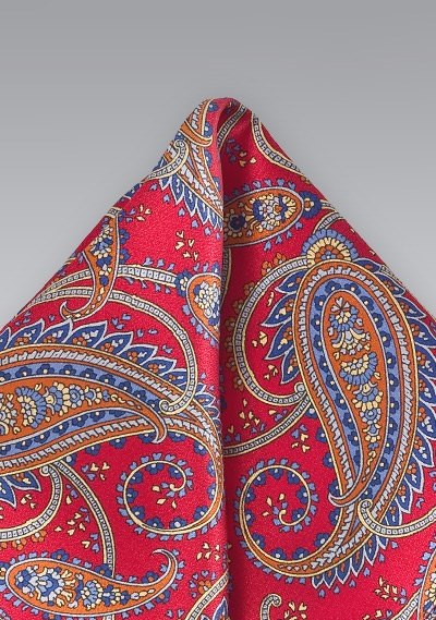 ddd98fe25d19b Red and Blue Paisley Pocket Square | Bows-N-Ties.com