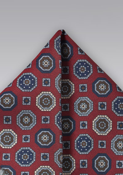 21f061217cee9 Retro Design Pocket Square in Reds and Blue | Bows-N-Ties.com