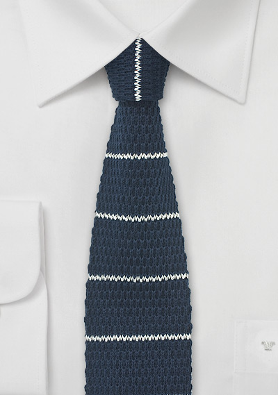 7efef94954a1 Cotton Knit Tie in Navy with White Stripe Design   Bows-N-Ties.com