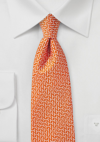 Orange and White Geometric Patterned Necktie