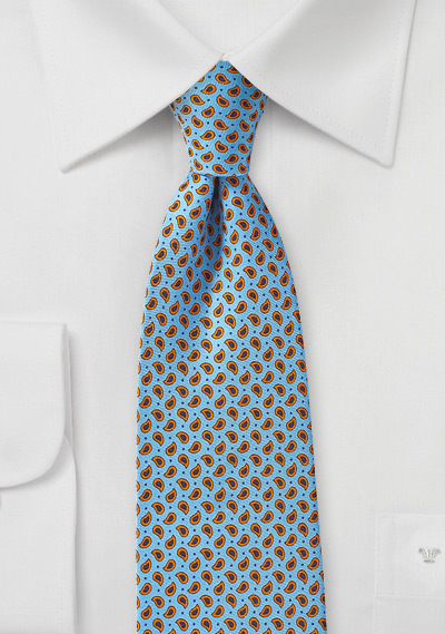 Handprint Silk Tie in Light Blue with Small Orange Paisleys