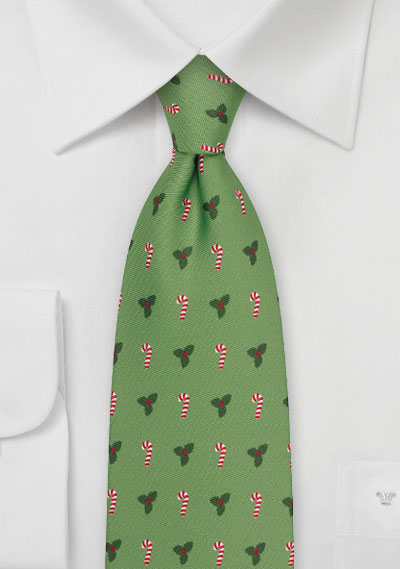 Candy Canes and Mistletoes in Meadow Green