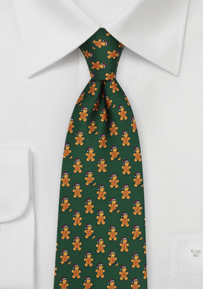 Green and Brown Gingerbread Men Tie