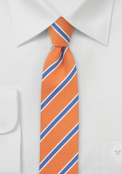 Trendy Summer Linen Skinny Tie in Tangerine and Blue