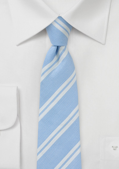 Light Blue and White Striped Linen Tie