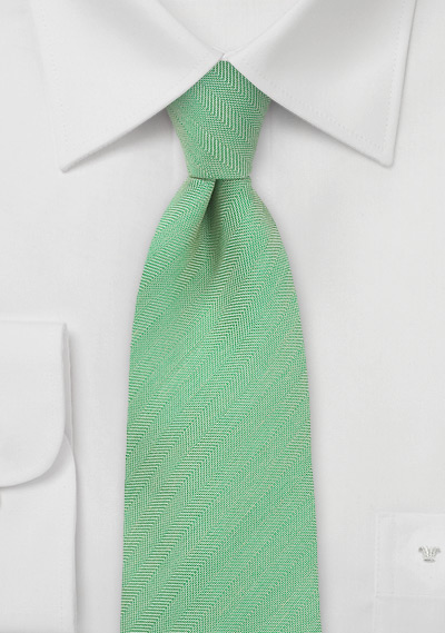 Mens Herringbone Tie in Mint