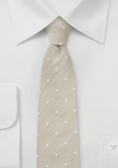Skinny Tan Necktie in Polka Dots