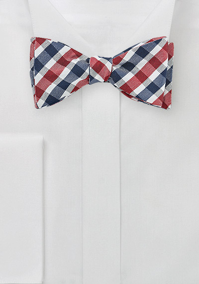 Navy, Red, White Gingham Silk Bow Tie