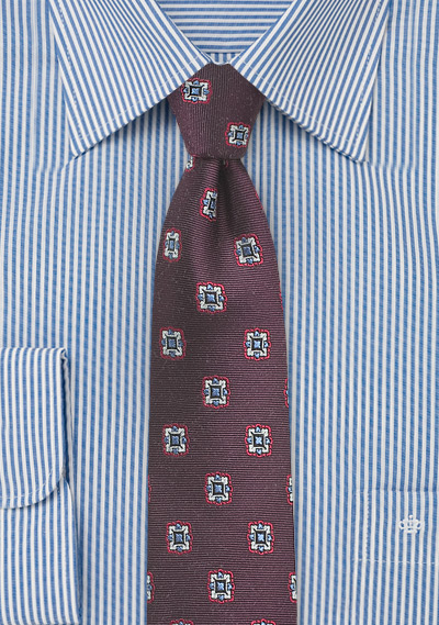 Skinny Medallion Tie in Deep Burgundy
