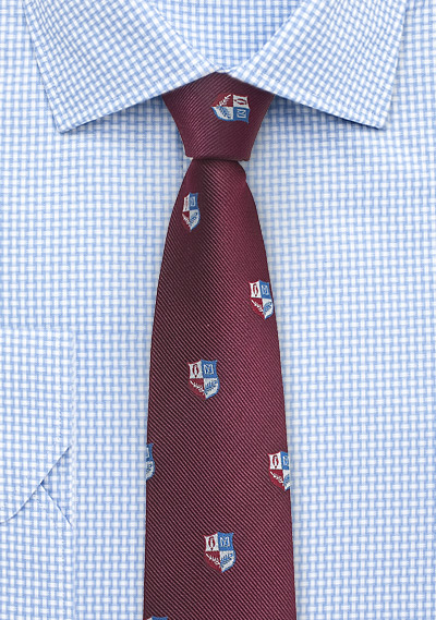 Embroidered Crest Silk Tie in Burgundy