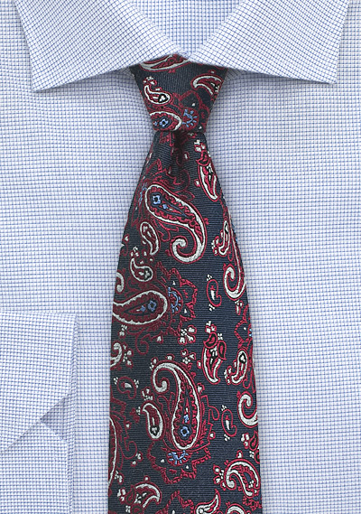 Red, Blue, and Silver Paisley Silk Tie