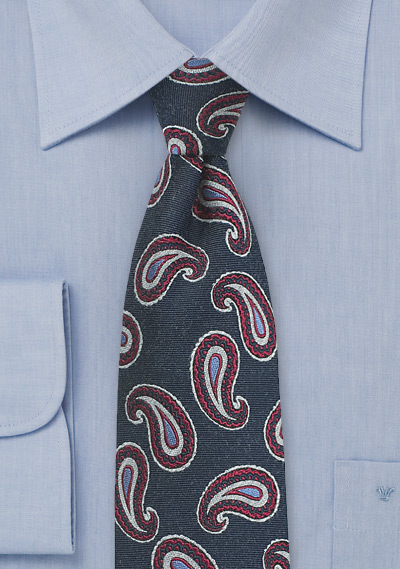 Raw Silk Paisley Woven Silk Tie in Blue