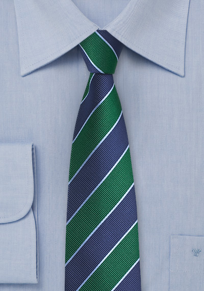 Navy and Kelly Green Striped Tie in Skinny Cut